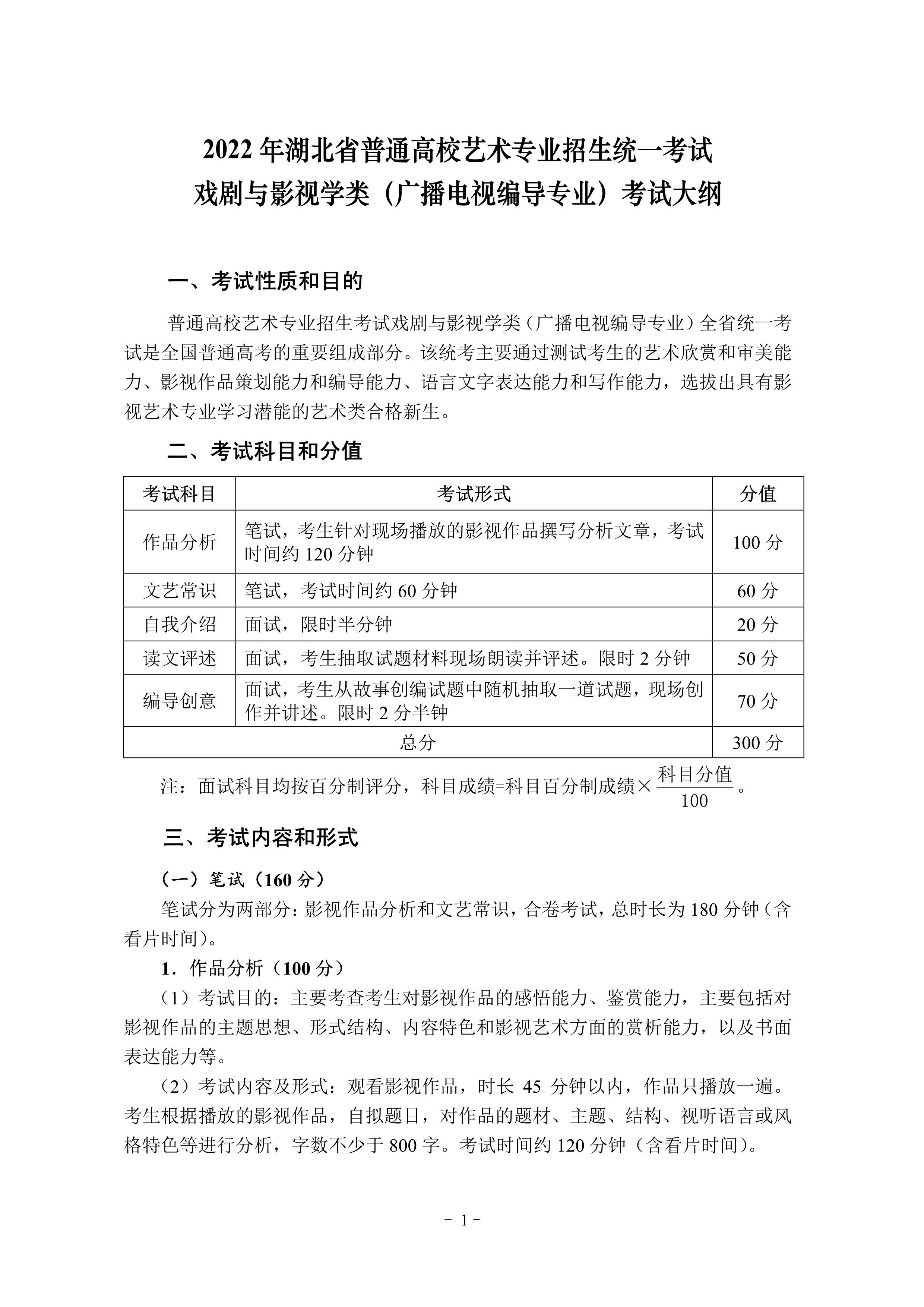 2022年湖北省艺术类统考(广播电视编导专业)考试大纲_1.jpg